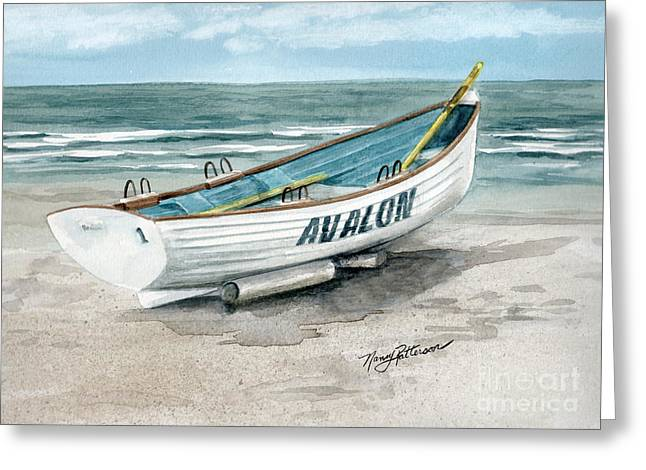 Avalon Lifeguard Boat  Greeting Card by Nancy Patterson