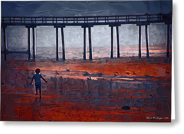 Avalon Pier And Child  Greeting Card
