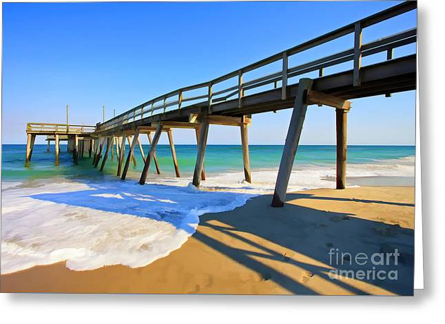 Avalon Pier Greeting Card by Geoff Crego