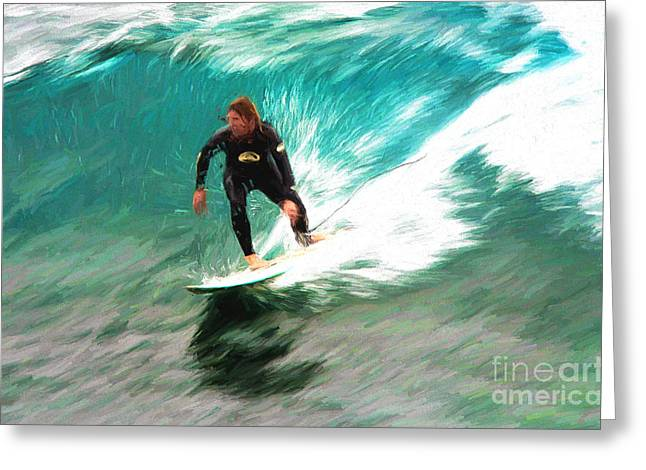 Avalono Surfer Greeting Card by Avalon Fine Art Photography