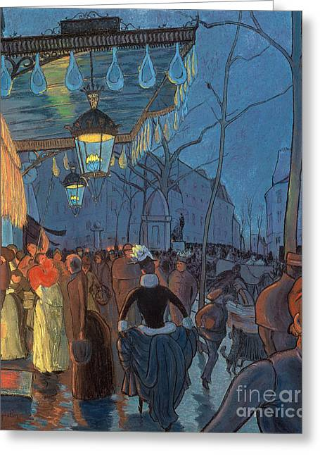 Avenue De Clichy Paris Greeting Card by Louis Anquetin