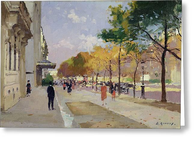 Avenue Montaigne, Paris  Greeting Card by Jules Ernest Renoux