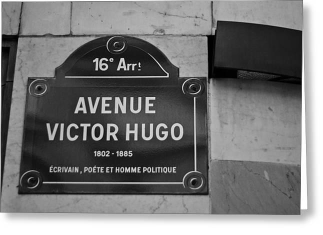 Avenue Victor Hugo Paris Road Sign Greeting Card by Georgia Fowler