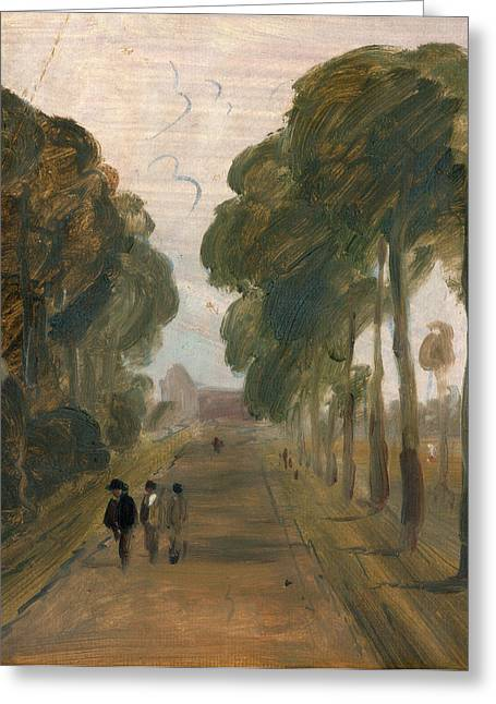 Avenue With Figures, Unknown Artist, 19th Century Greeting Card by Litz Collection