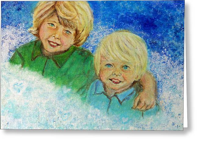 Avery And Atley Angels Of Brotherly Love Greeting Card by The Art With A Heart By Charlotte Phillips
