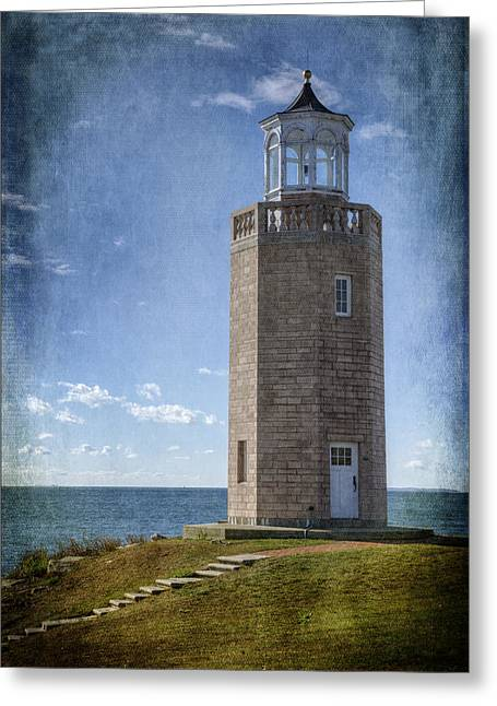 Avery Point Lighthouse Greeting Card by Joan Carroll