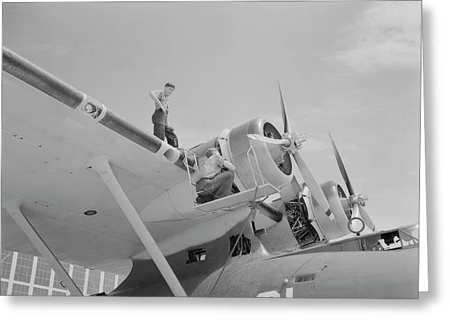 Aviation Mechanics Check The Huge Motor Greeting Card by Stocktrek Images
