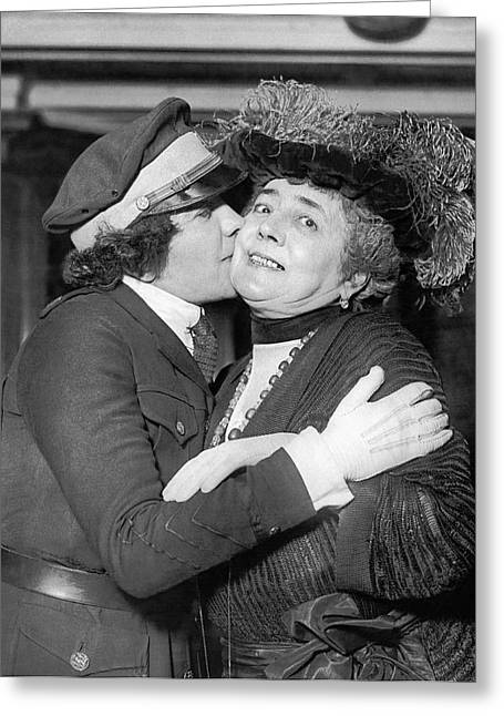 Aviatrix Greets Her Mother Greeting Card