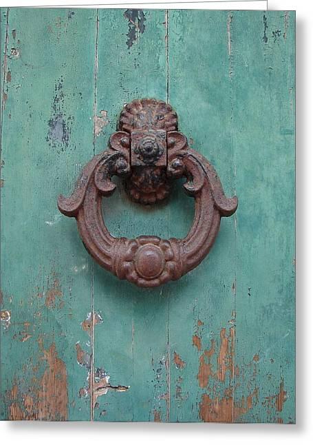Greeting Card featuring the photograph Avignon Door Knocker On Green by Ramona Johnston