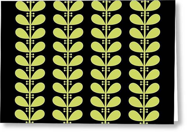 Avocado Leaves On Black Pillow Greeting Card