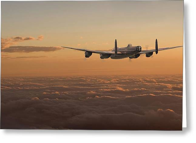Avro Lancaster - Homeward Greeting Card by Pat Speirs