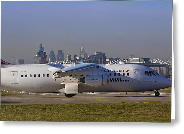 Avro Rj85 Jet London Greeting Card by David Pyatt