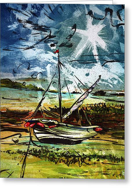 Awaiting The Tide Greeting Card by William Rowsell