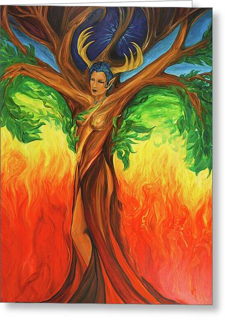 Awakening The Chakra Tree Greeting Card by Jennifer Christenson