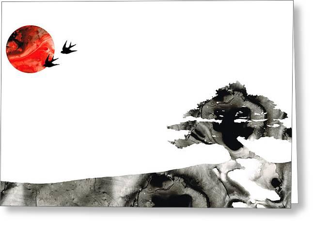 Awakening - Zen Landscape Art Greeting Card by Sharon Cummings