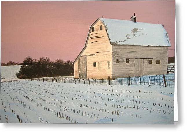Greeting Card featuring the painting Award-winning Original Acrylic Painting - Nebraska Barn by Norm Starks