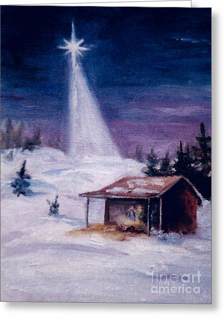 Greeting Card featuring the painting Away In A Manger by Brenda Thour