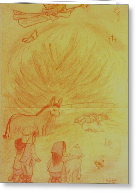 Away In A Manger Greeting Card by Christy Saunders Church