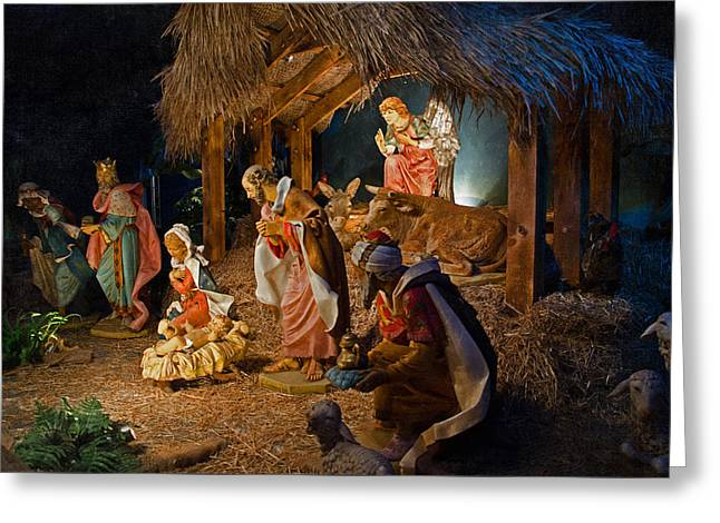 Away In The Manger  Greeting Card by Susan  McMenamin