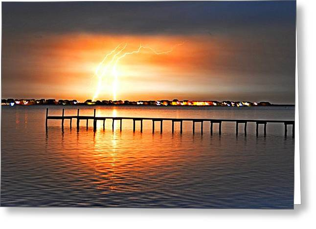 Greeting Card featuring the photograph Awesome Lightning Electrical Storm On Sound by Jeff at JSJ Photography