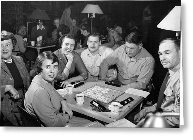 Awvs Family Night Scrabble Greeting Card by Underwood Archives