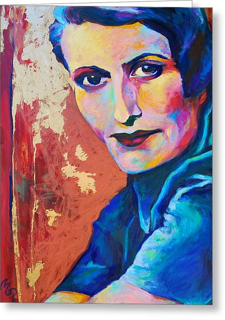 Ayn Rand Greeting Card by Melanie Pearson