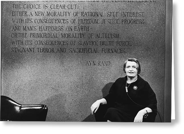 Ayn Rand Greeting Card by Raimondo Borea