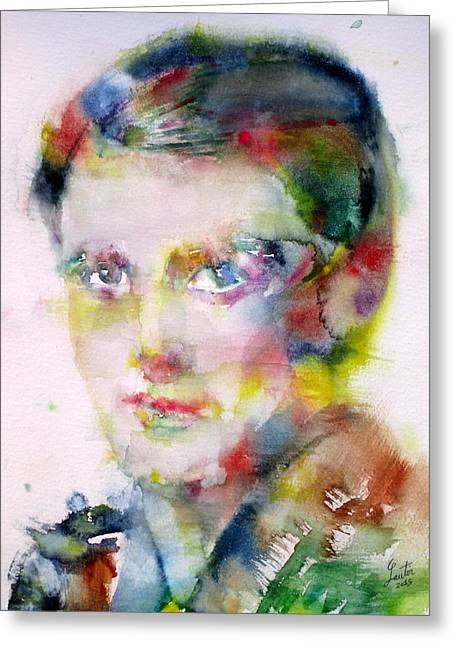 Ayn Rand - Watercolor Portrait Greeting Card by Fabrizio Cassetta
