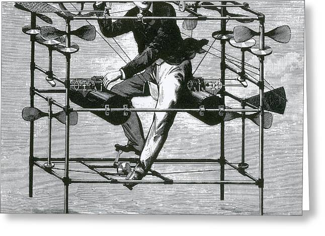 Ayres New Aerial Machine, 1885 Greeting Card by Science Source