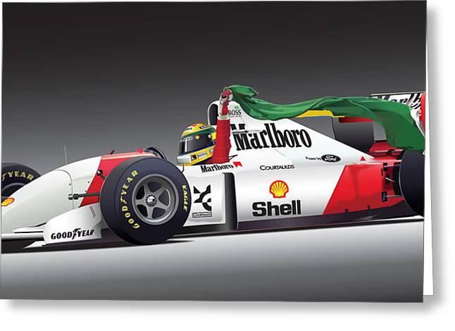 Ayrton Senna Da Silva Art Greeting Card