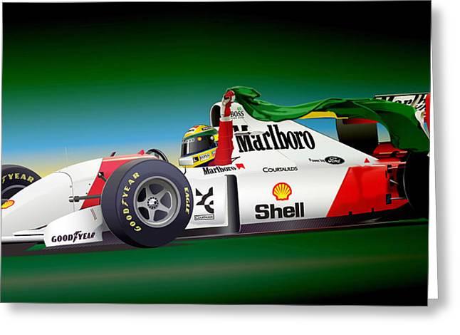Ayrton Senna Art Greeting Card by Alain Jamar