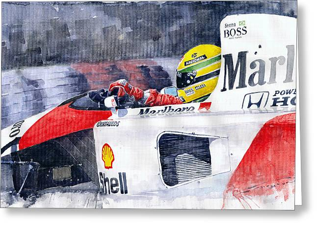 Ayrton Senna Mclaren 1991 Hungarian Gp Greeting Card