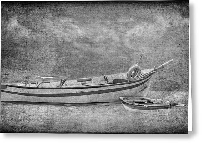Azorean Fishing Boats B/w Greeting Card
