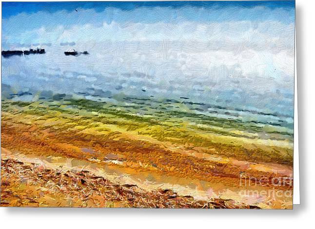 Azov Sea Painting Greeting Card by Magomed Magomedagaev