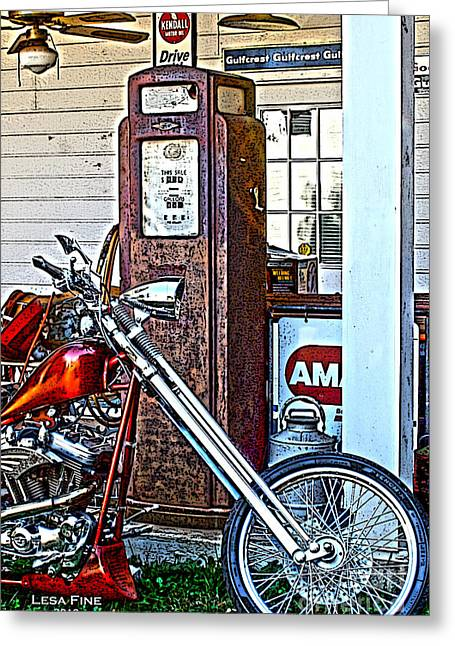 Aztec And The Gas Pump Greeting Card by Lesa Fine