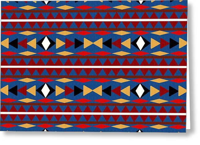 Aztec Blue Pattern Greeting Card