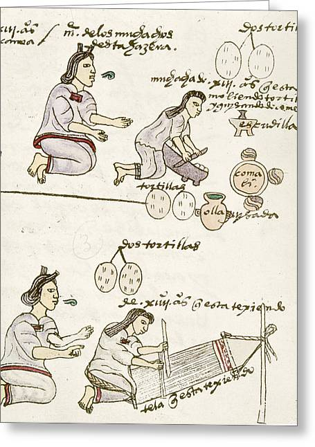 Aztec Daily Life, C1540 Greeting Card by Granger
