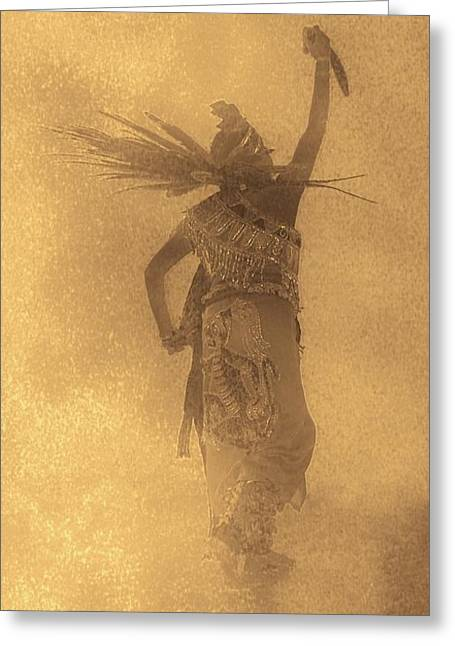 Aztec Dancer In The Mist Greeting Card by Margaret Bobb