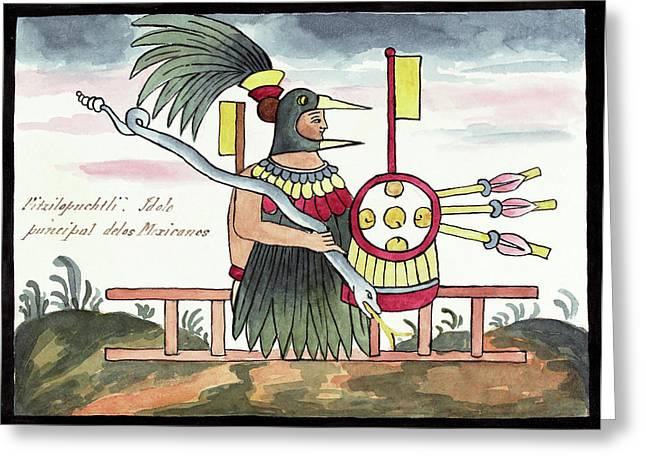 Aztec Deity Huitzilopochtli Greeting Card by Library Of Congress