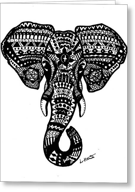 Aztec Elephant Head Greeting Card