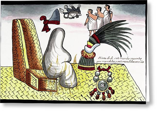 Aztec Emperor Funeral Greeting Card by Library Of Congress
