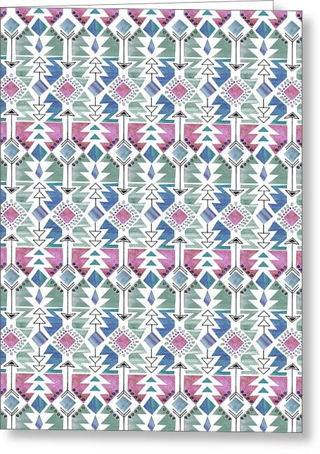 Aztec Inspired Arrow And Geometric Pattern One_colour 2.jpg Greeting Card