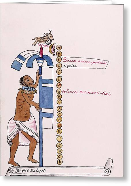 Aztec Month Panquetzaliztli Greeting Card by Library Of Congress