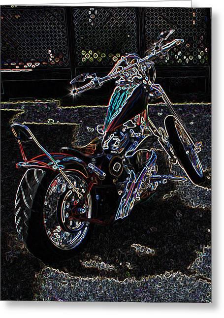 Greeting Card featuring the digital art Aztec Neon Art by Lesa Fine