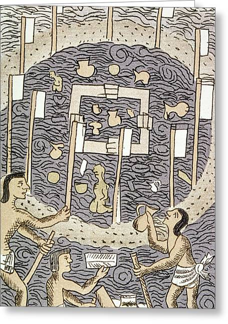 Aztec Religious Ceremony Greeting Card by Granger