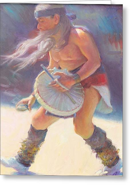 Aztec Sun Dancer Greeting Card by Ernest Principato