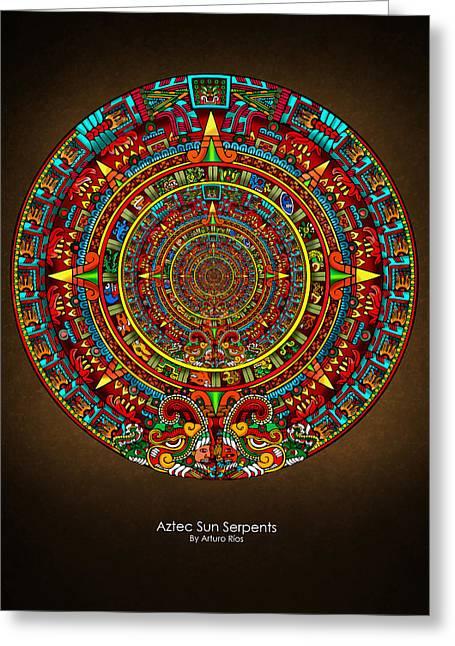 Aztec Sun Serpents Greeting Card