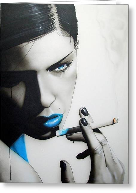 Portrait - ' Azure Addiction ' Greeting Card by Christian Chapman Art