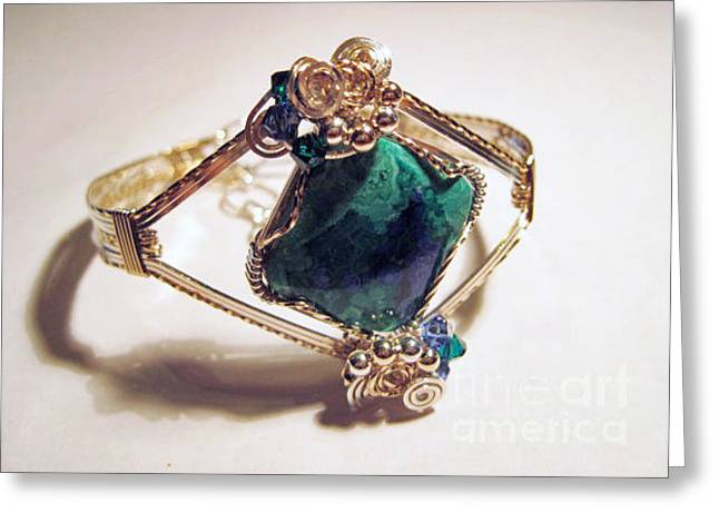 Azurite Malachite Natural Stone Bracelet In Sterling And Gold Filled Wire Greeting Card by Holly Chapman