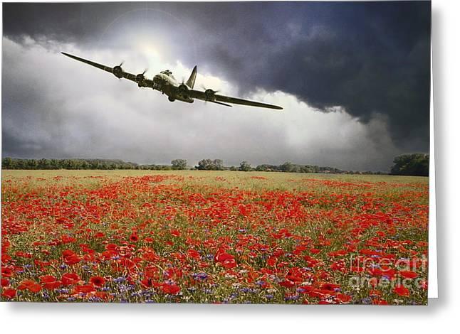 B-17 Poppy Pride Greeting Card